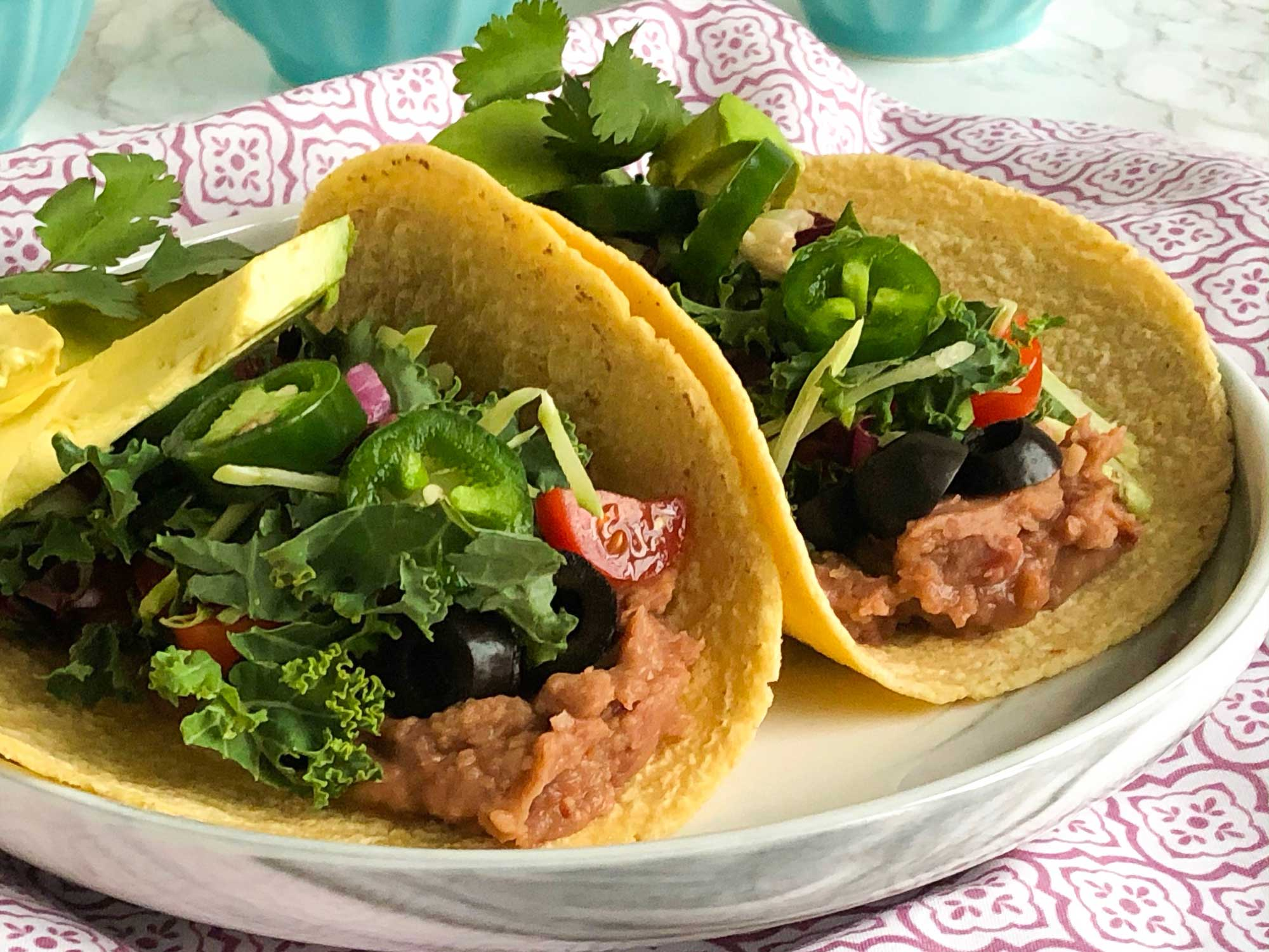Side view of tacos