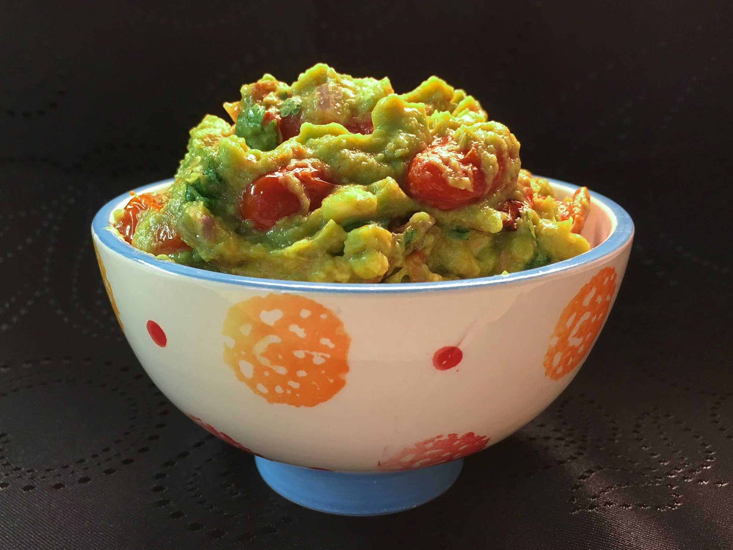Blistered Guacamole in bowl