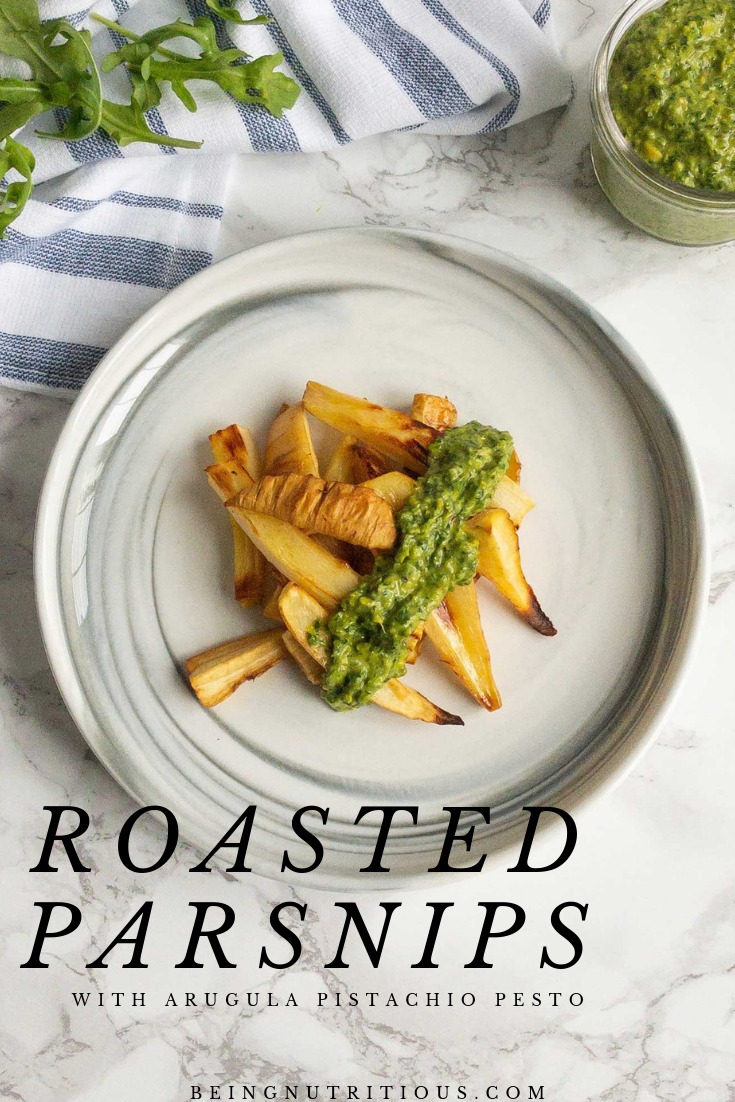 Roasted Parsnips Pinterest graphic