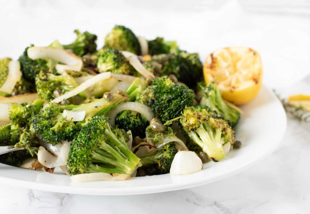 Grilled broccoli and onions