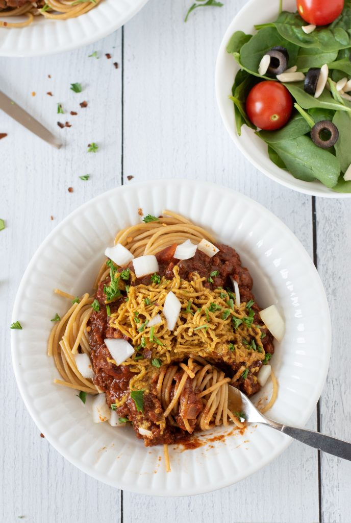 Cincinnati Chili twirled around a fork