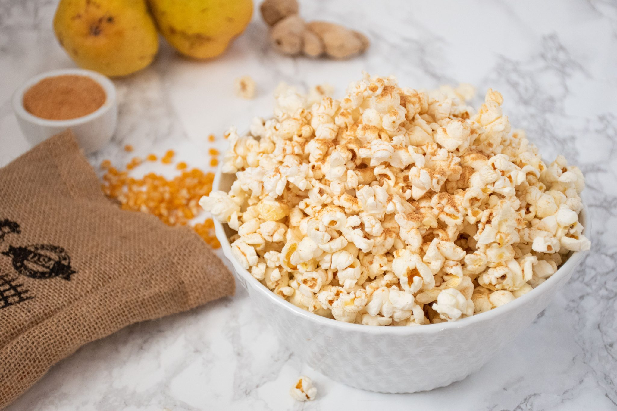 Gingered Pear Seasoned Popcorn in a bowl