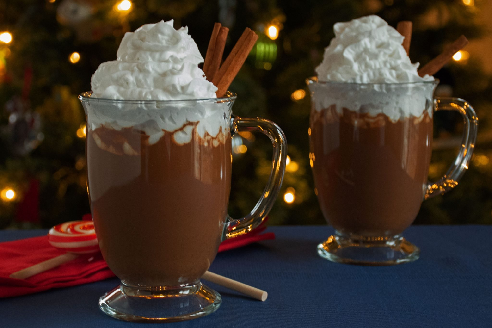 2 glass mugs of Gingerbread Hot Cocoa with whipped topping