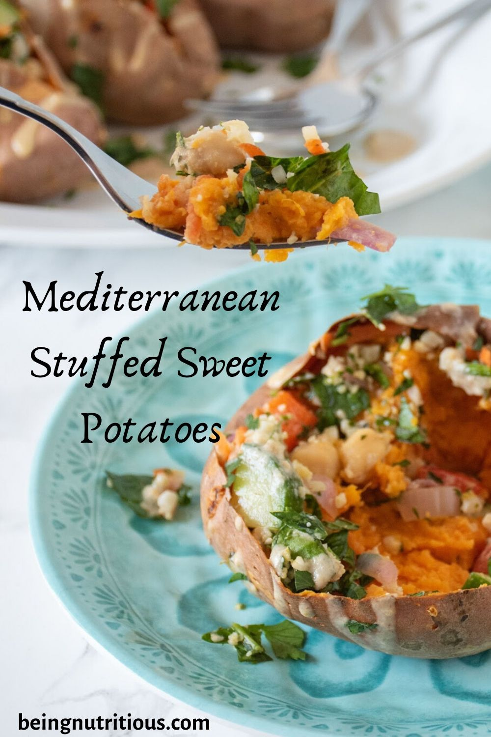 Mediterranean Stuffed Sweet Potatoes Pinterest graphic