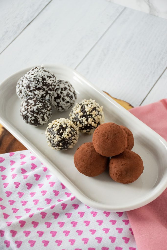 Plate with 3 varieties of chocolate date truffles