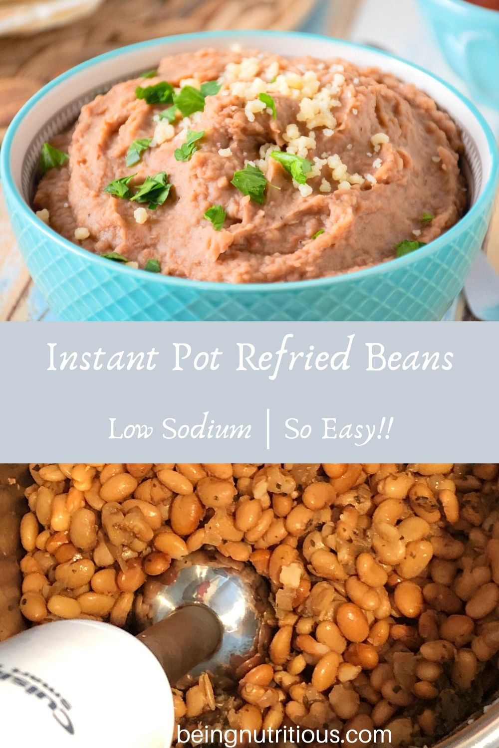 Bowl of refried beans on the top of the picture, with a pot of cooked pinto beans on the bottom with an immersion blender in them.