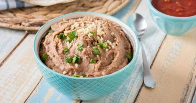 Close up of a bowl of refried beans