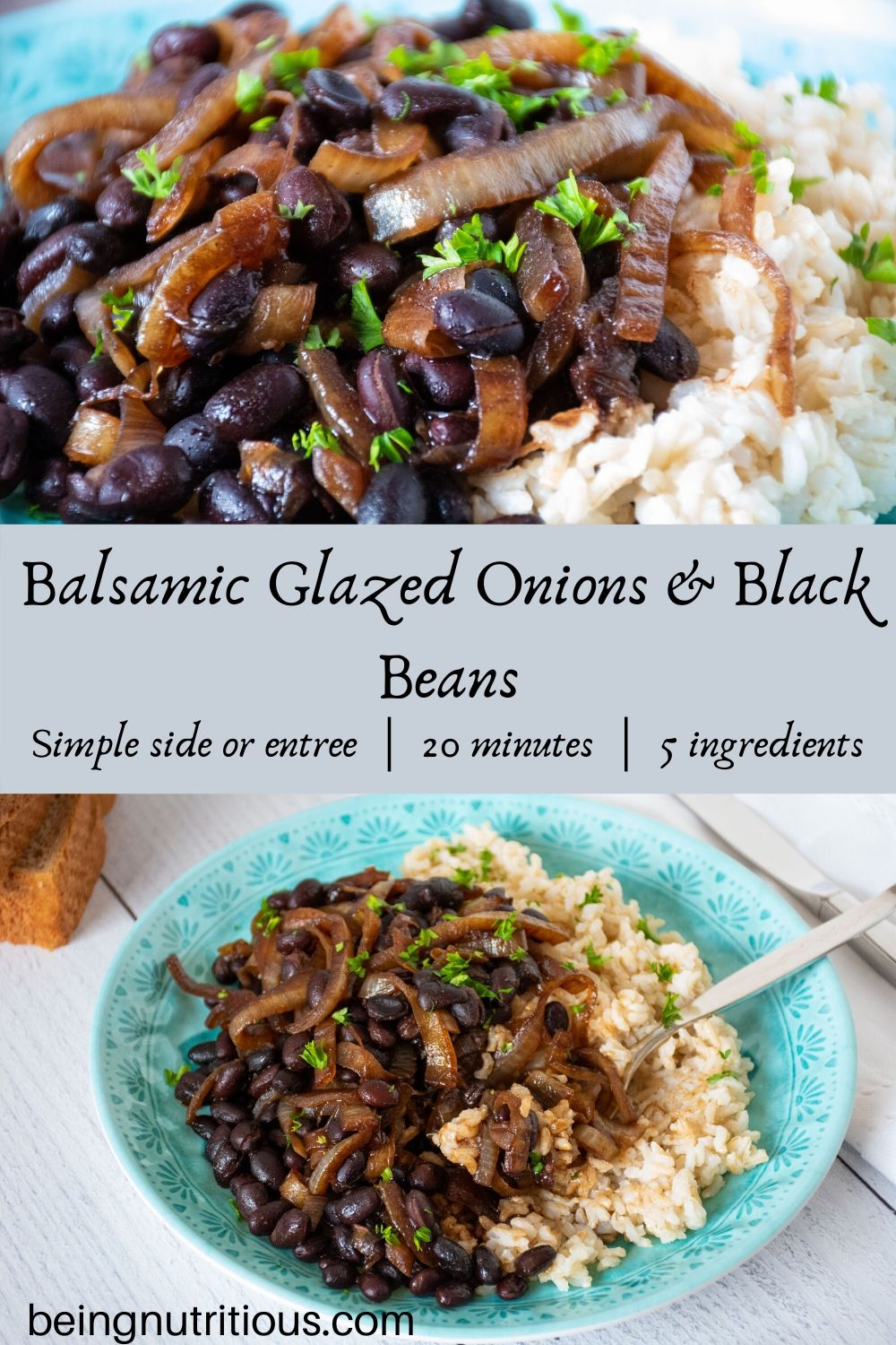 Balsamic glazed onions and black beans split image with close up of recipe and image of entire plate with rice.