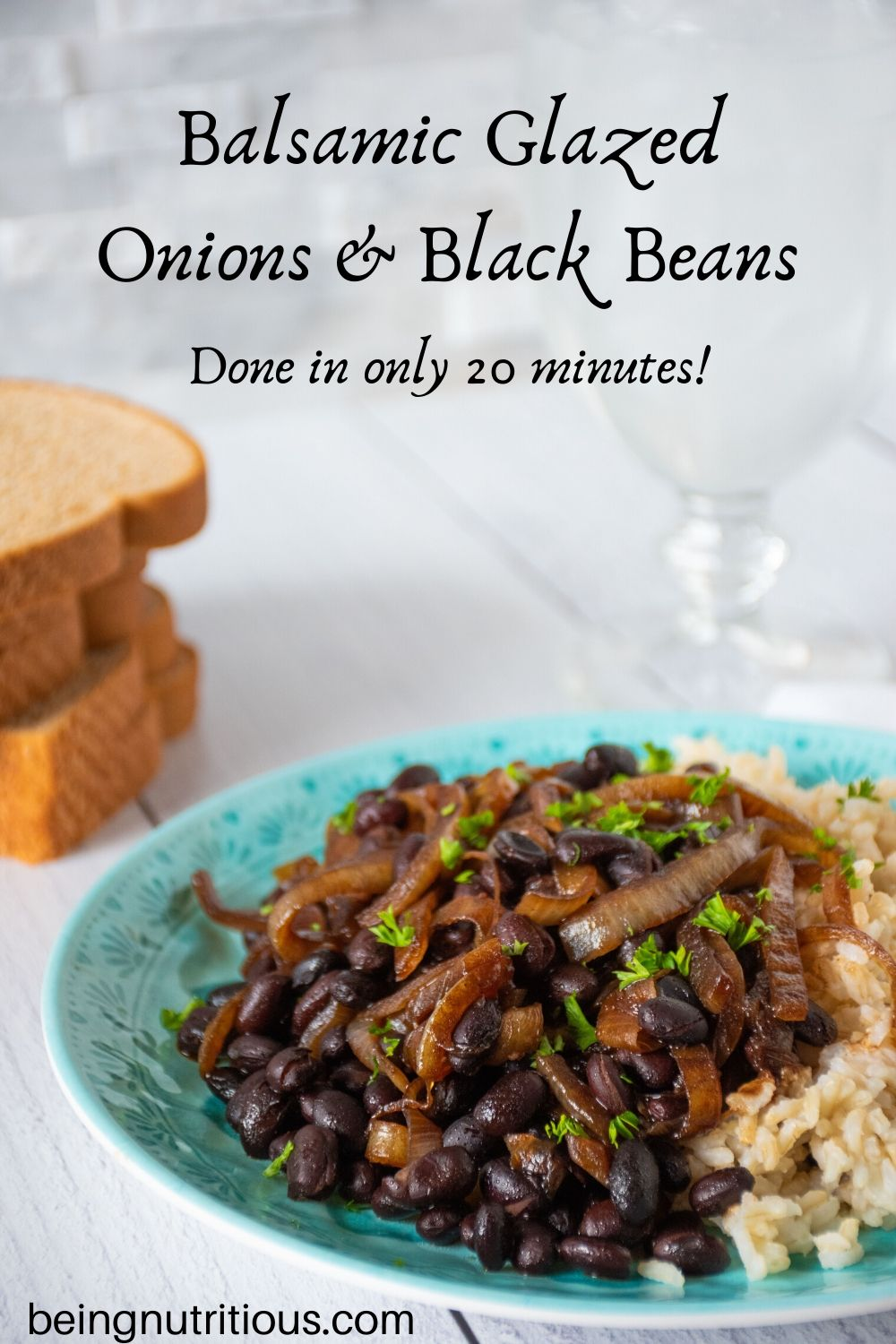 Balsamic glazed onions and black beans pinterest graphic.