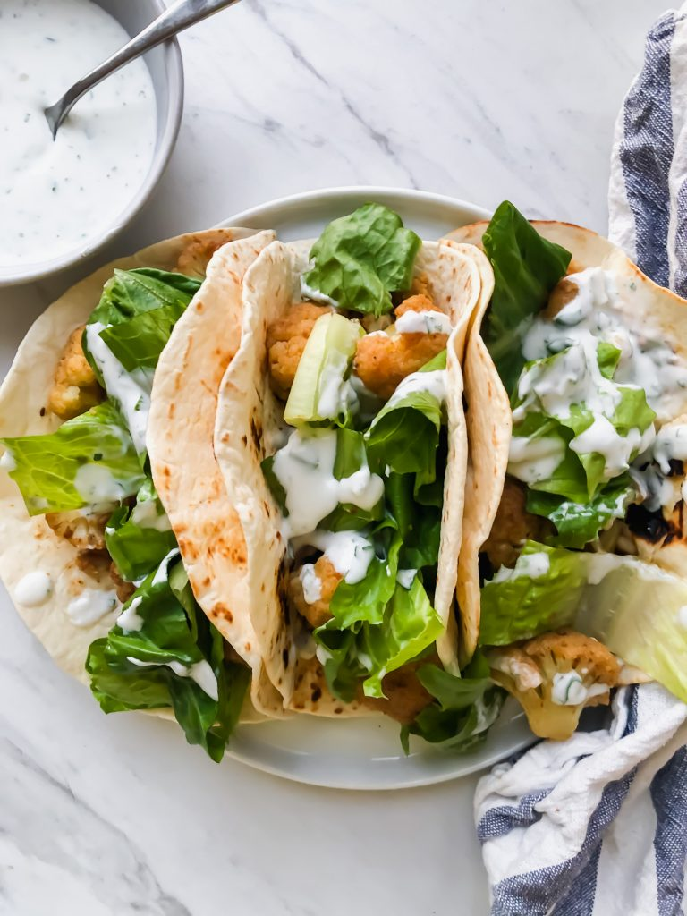 Chickpea Tacos with Cauliflower and Cilantro Lime Sauce from Aleno Menko Nutrition and Wellness