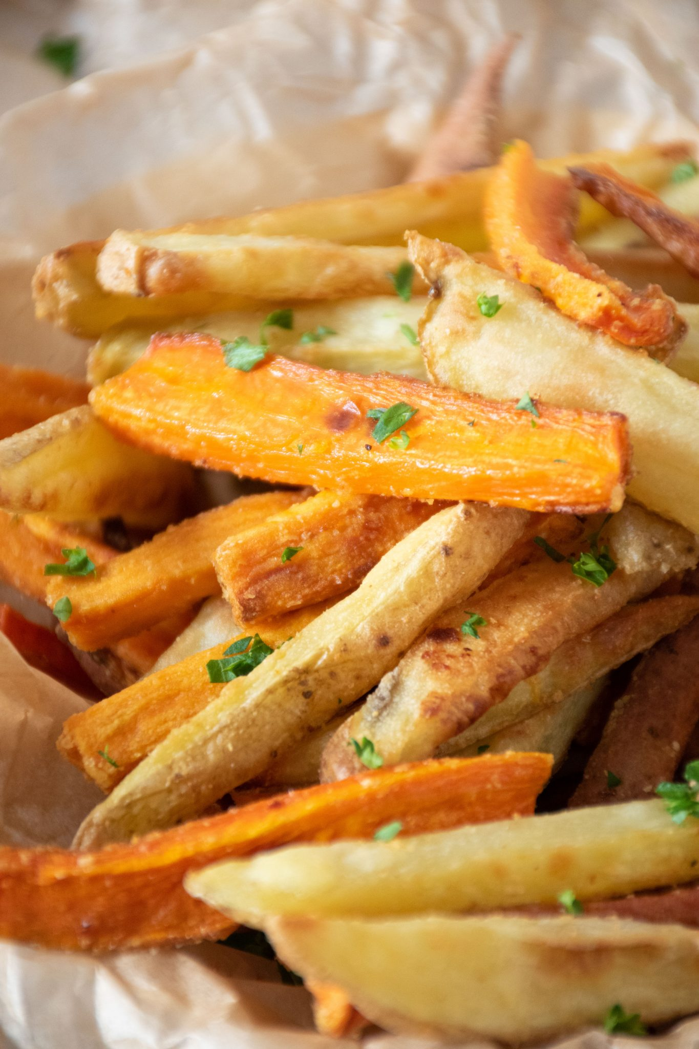 Close up of crispy oven fries
