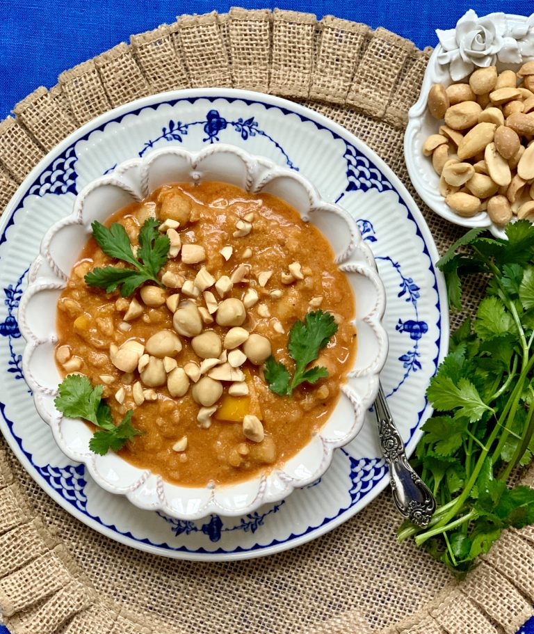 Pantry Peanut Butter and Chickpea Soup from Liz's Healthy Table