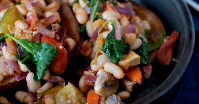Close up of Beans and Greens Breakfast Hash on toast