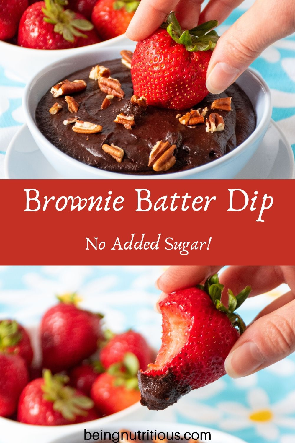 2 stacked images: bowl of brownie batter with a strawberry being dipped in, over a strawberry with dip on it and a bite taken out.