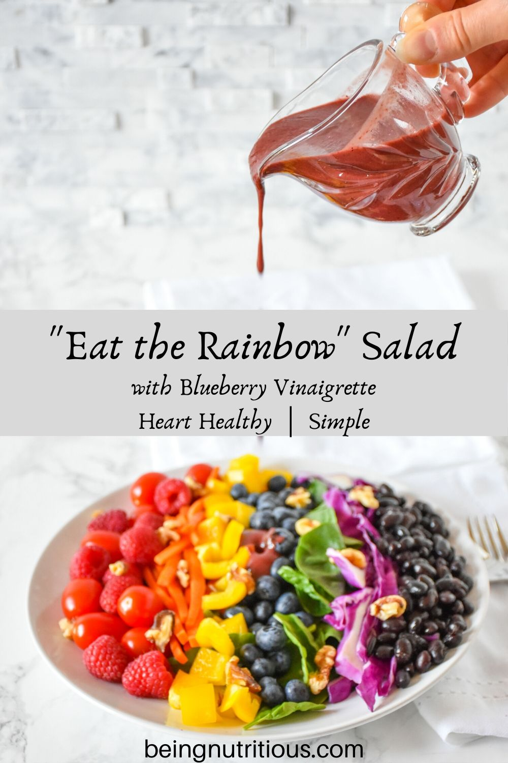 Stacked image. Top image is glass vessel containing blueberry vinaigrette, being poured. Bottom image is rainbow salad on a plate, ingredients arranged by color.