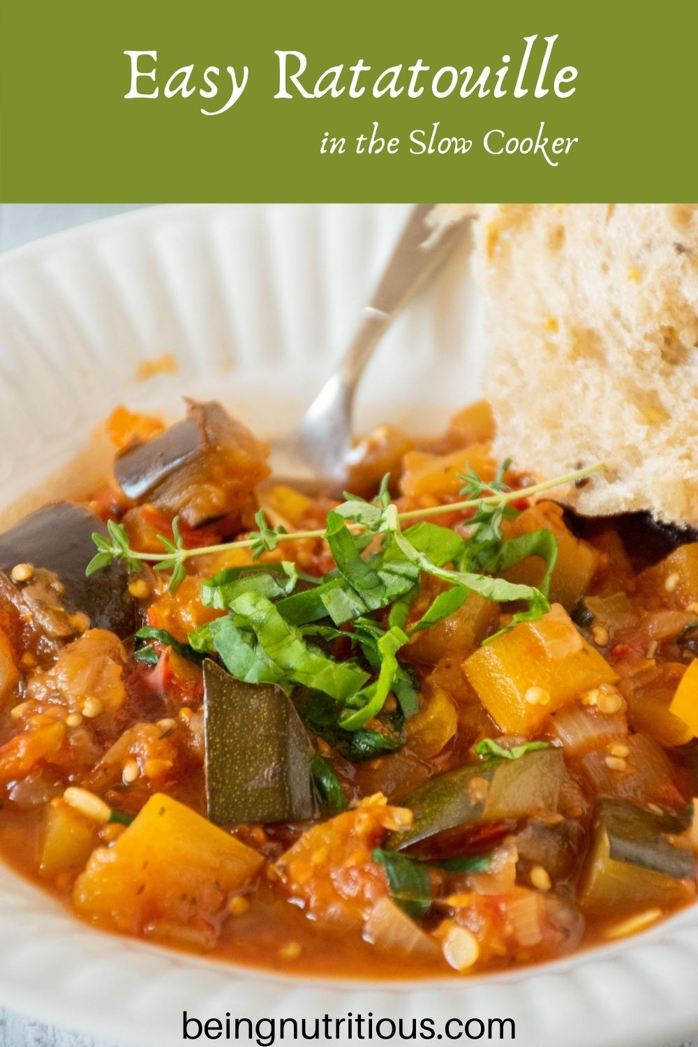Close up of bowl of ratatouille. Text overlay in a green rectangle: Easy Ratatouille in the Slow Cooker.