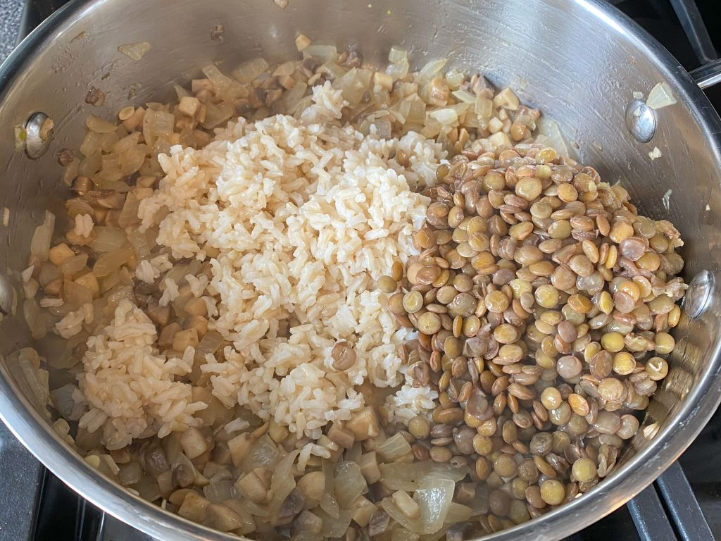 Add lentils and rice to the skillet.