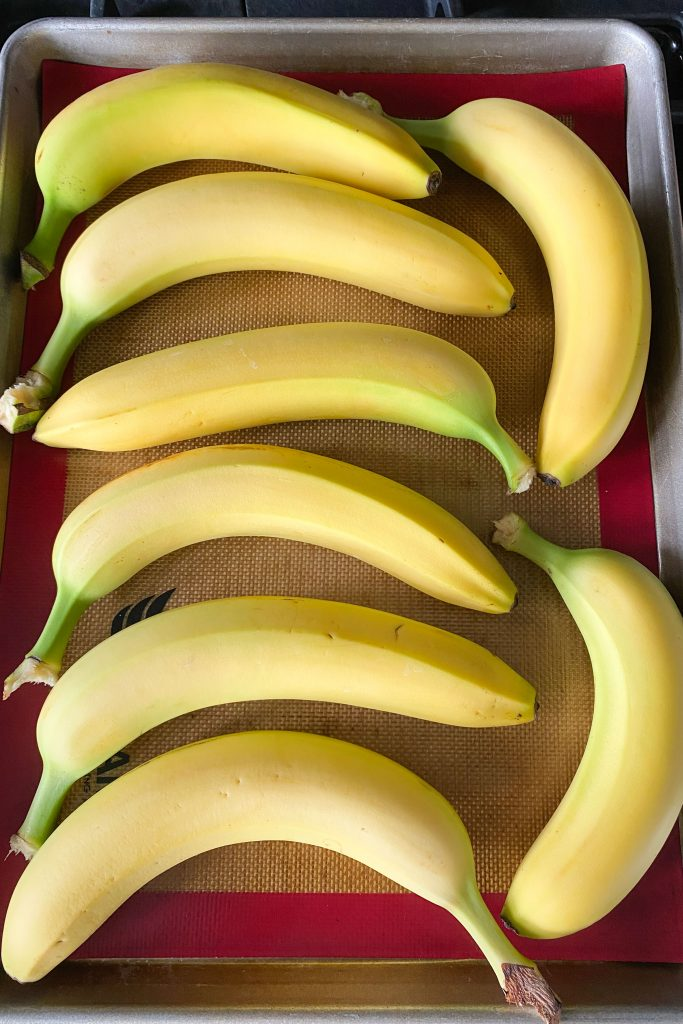 Whole bananas on cookie sheet
