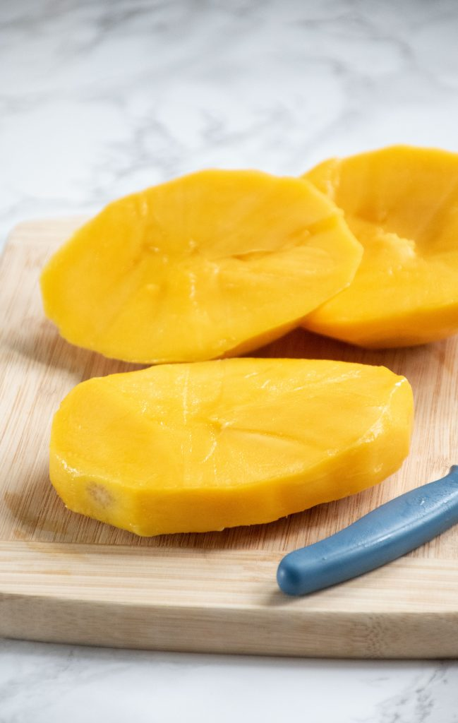Mango seed with flesh removed