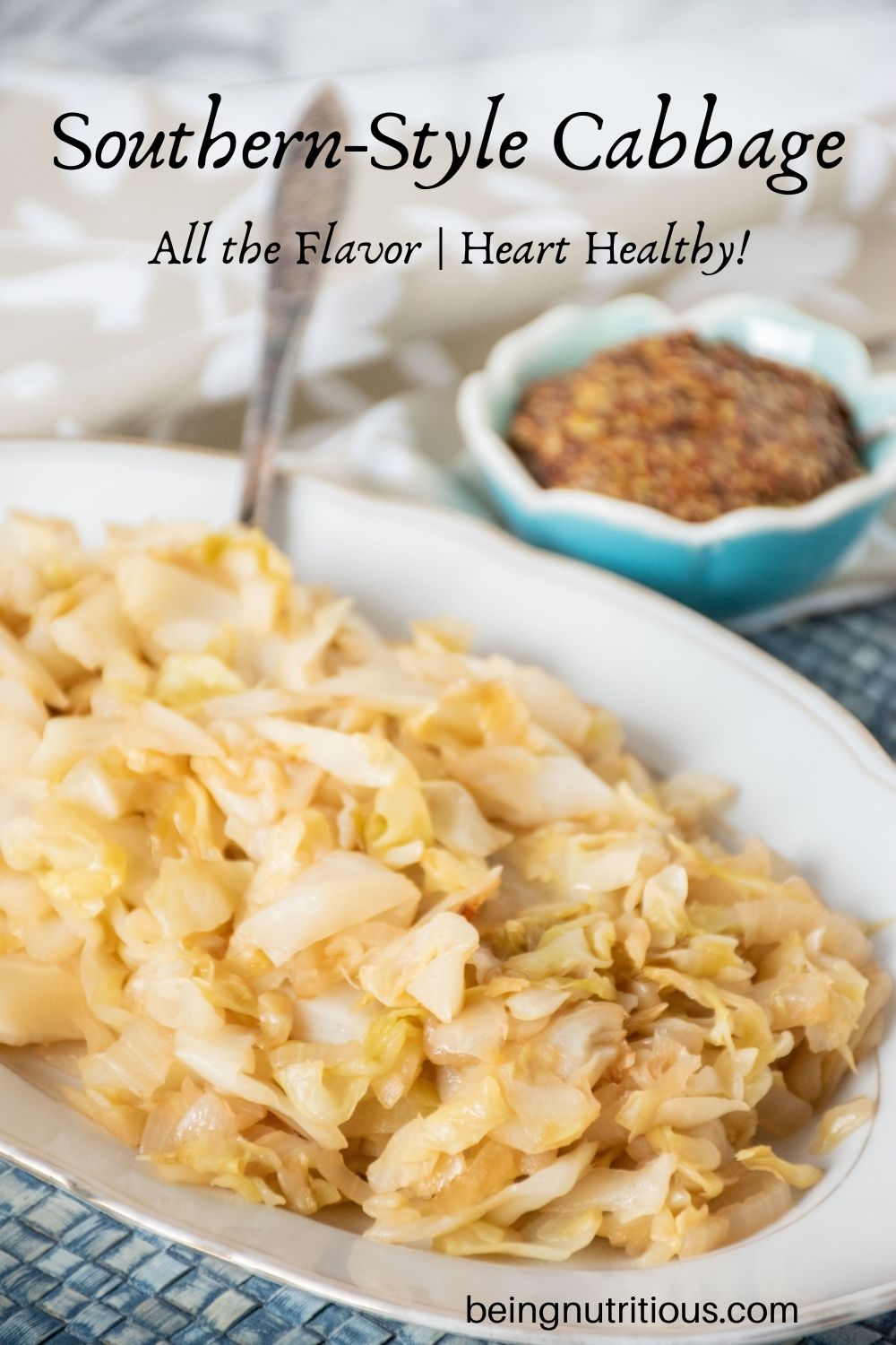 Sautéed cabbage on a plate. Text overlay: Southern-style cabbage; all the flavor, heart healthy!