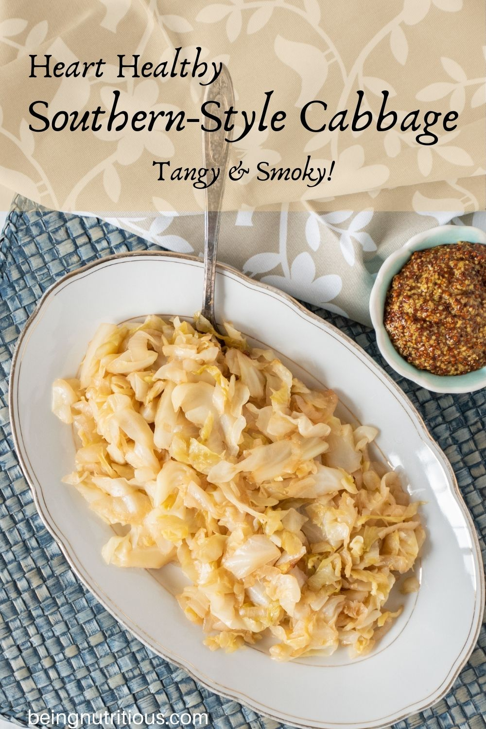 Sautéed cabbage on a plate. Text overlay: Heart Healthy Southern-style cabbage; tangy and smoky!