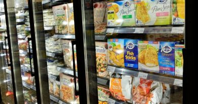 Frozen food section at grocery store