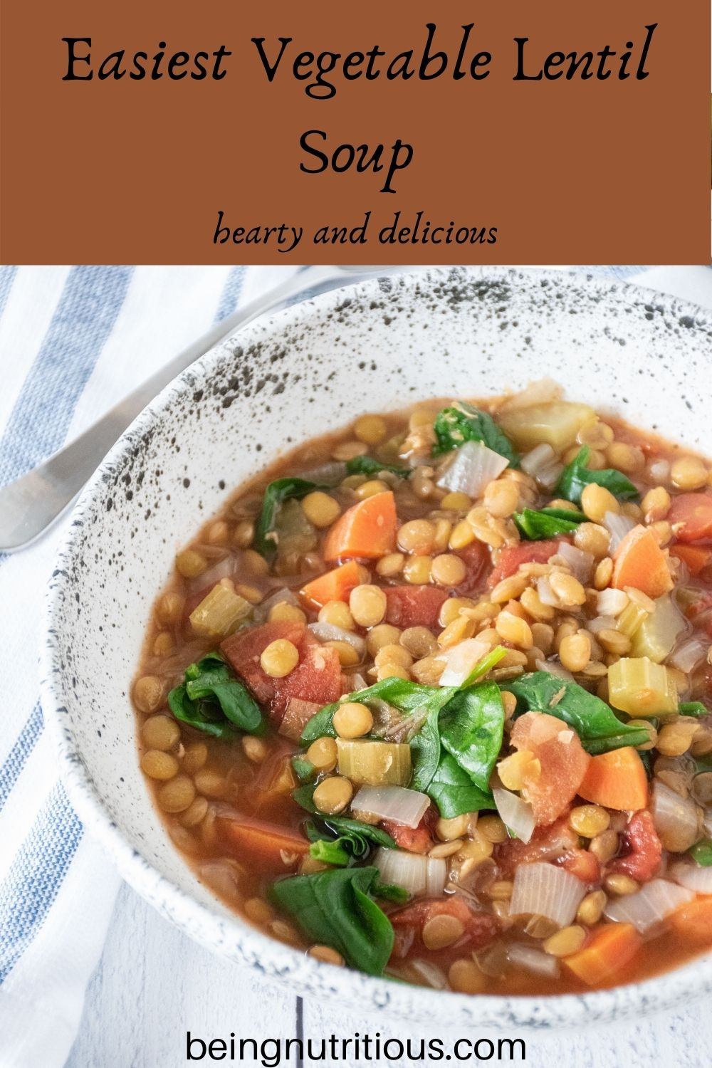 Lentil soup in a bowl. Text overlay: Easiest Vegetable Lentil soup; hearty and delicious.