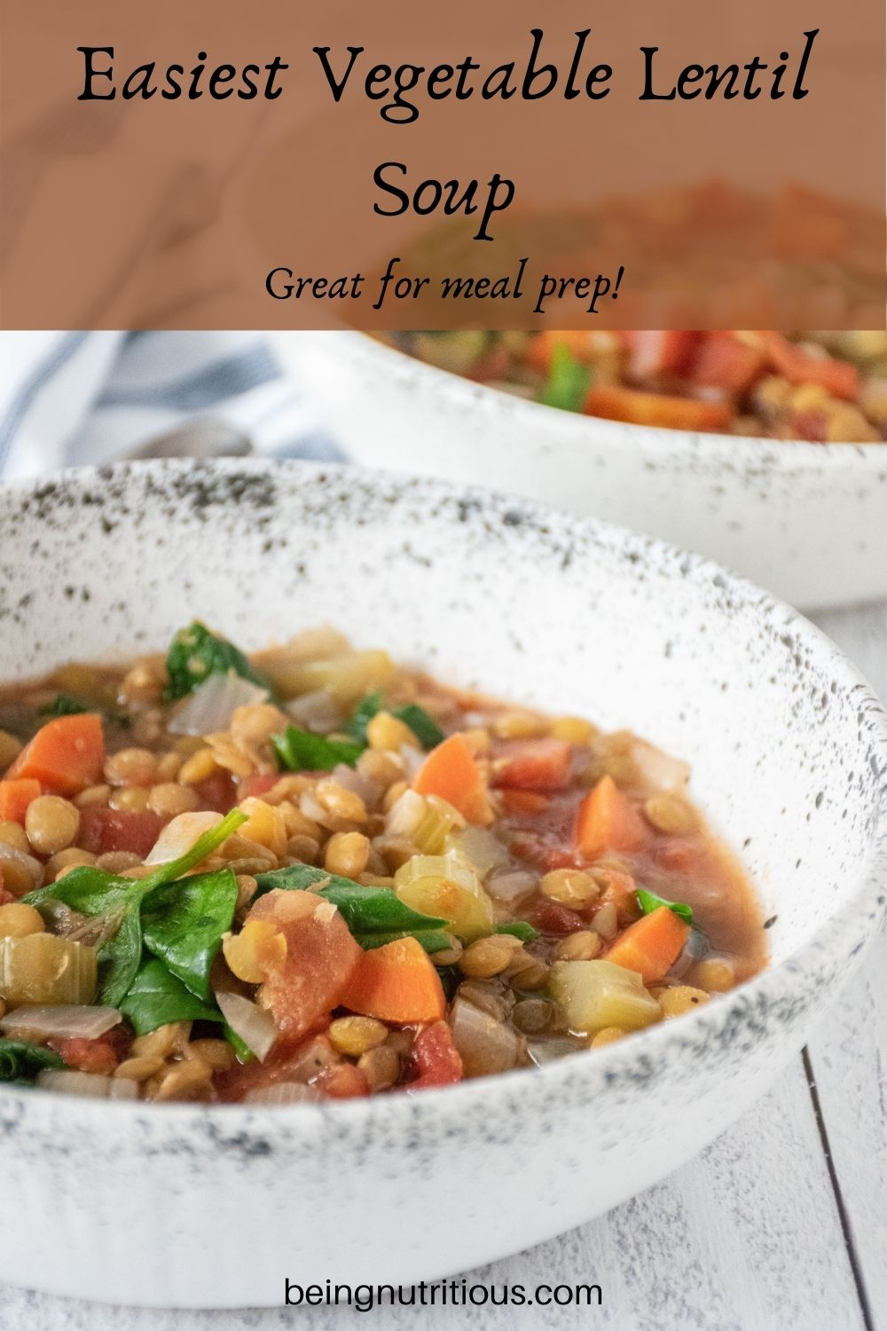 Lentil soup in a bowl. Text overlay: Easiest Vegetable Lentil soup; great for meal prep!