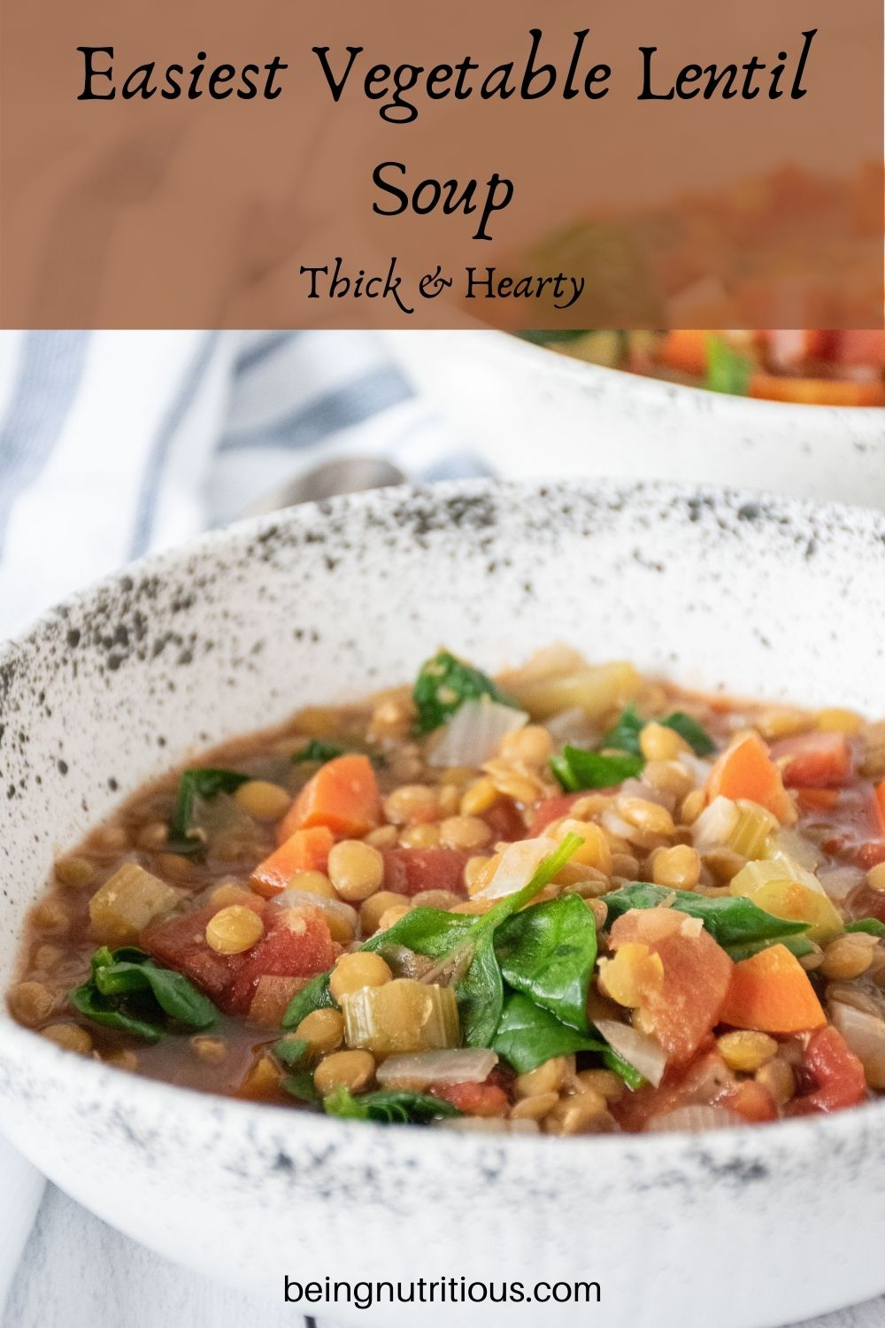 Lentil soup in a bowl. Text overlay: Easiest Vegetable Lentil soup; thick and hearty.