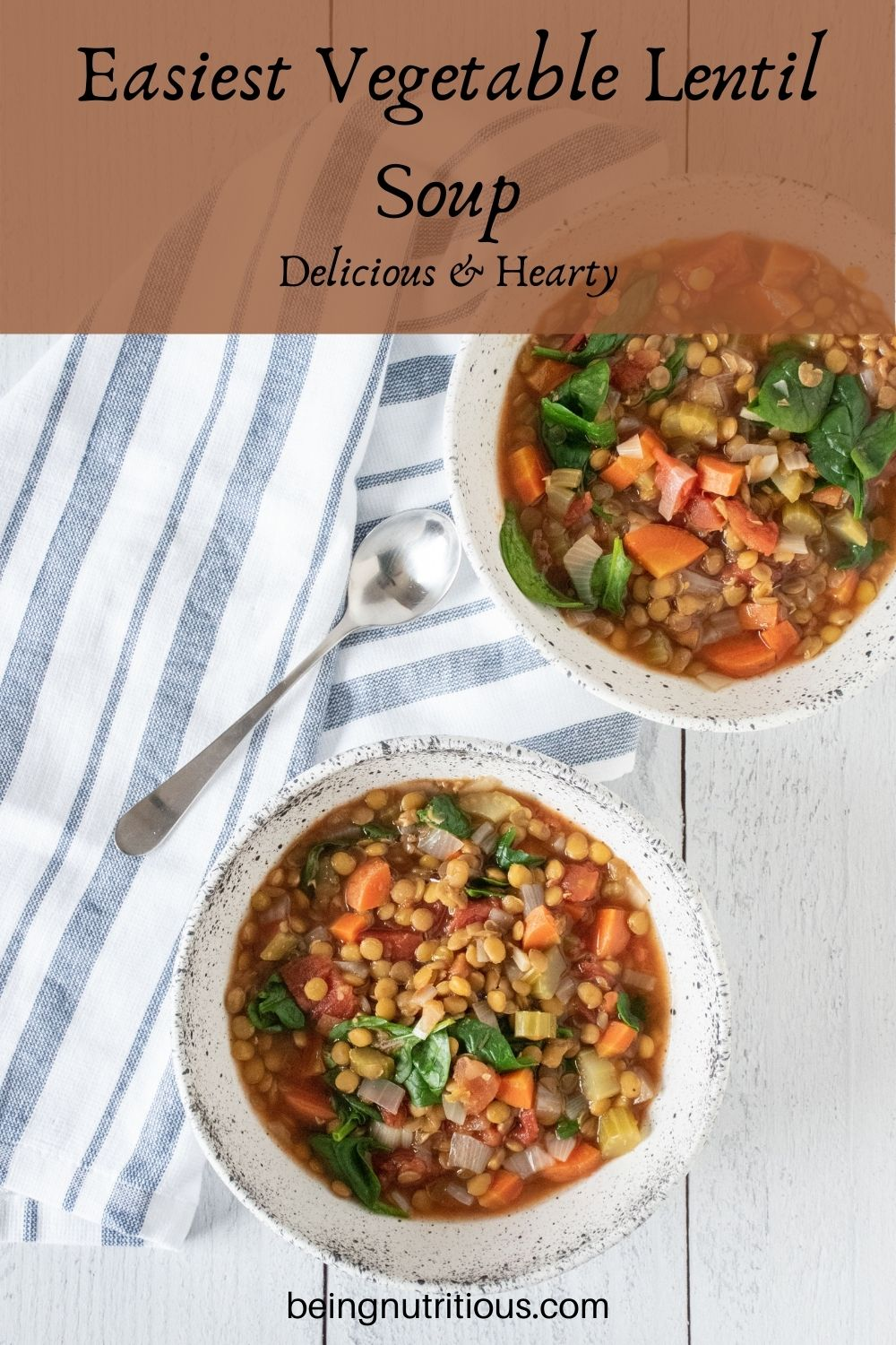 Lentil soup in a bowl. Text overlay: Easiest Vegetable Lentil soup; delicious and hearty.