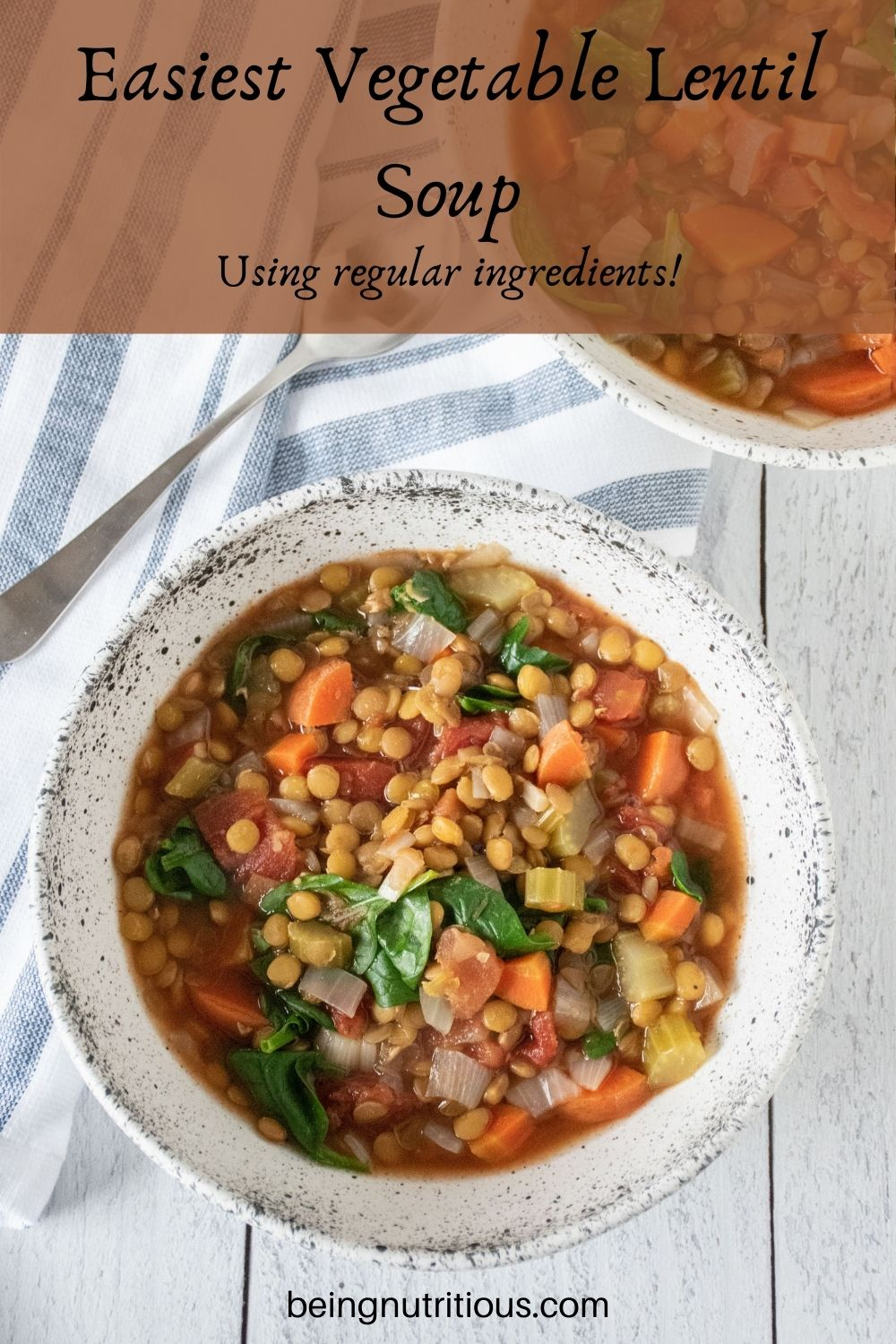 Lentil soup in a bowl. Text overlay: Easiest Vegetable Lentil soup; using regular ingredients!