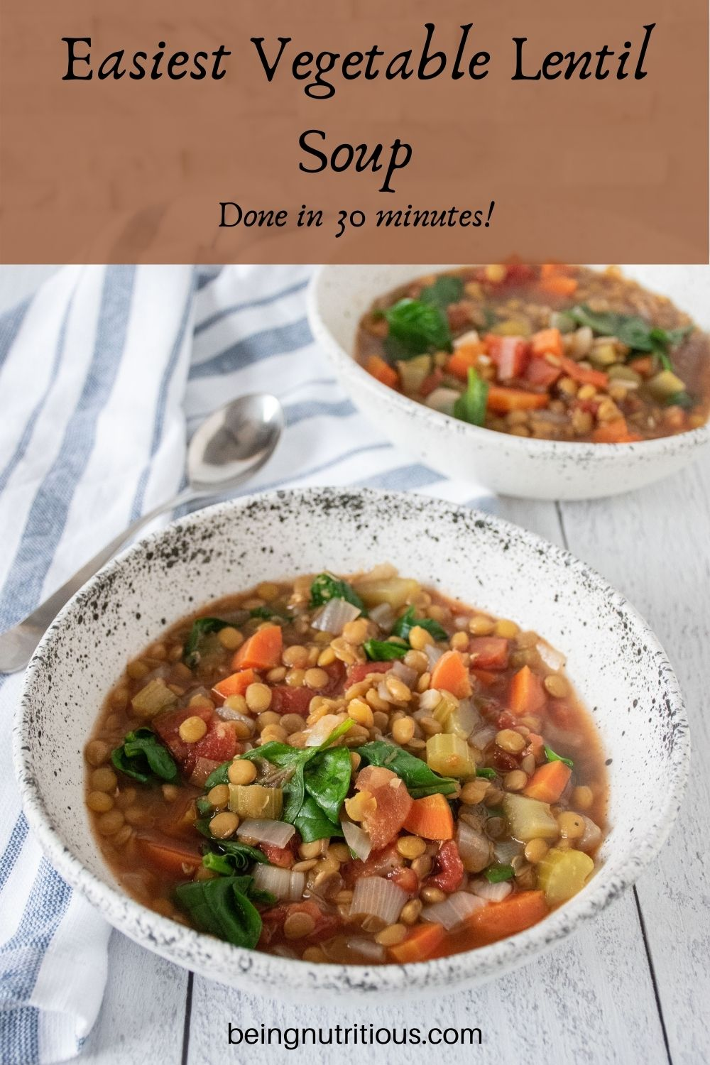 Lentil soup in a bowl. Text overlay: Easiest Vegetable Lentil soup; done in 30 minutes!