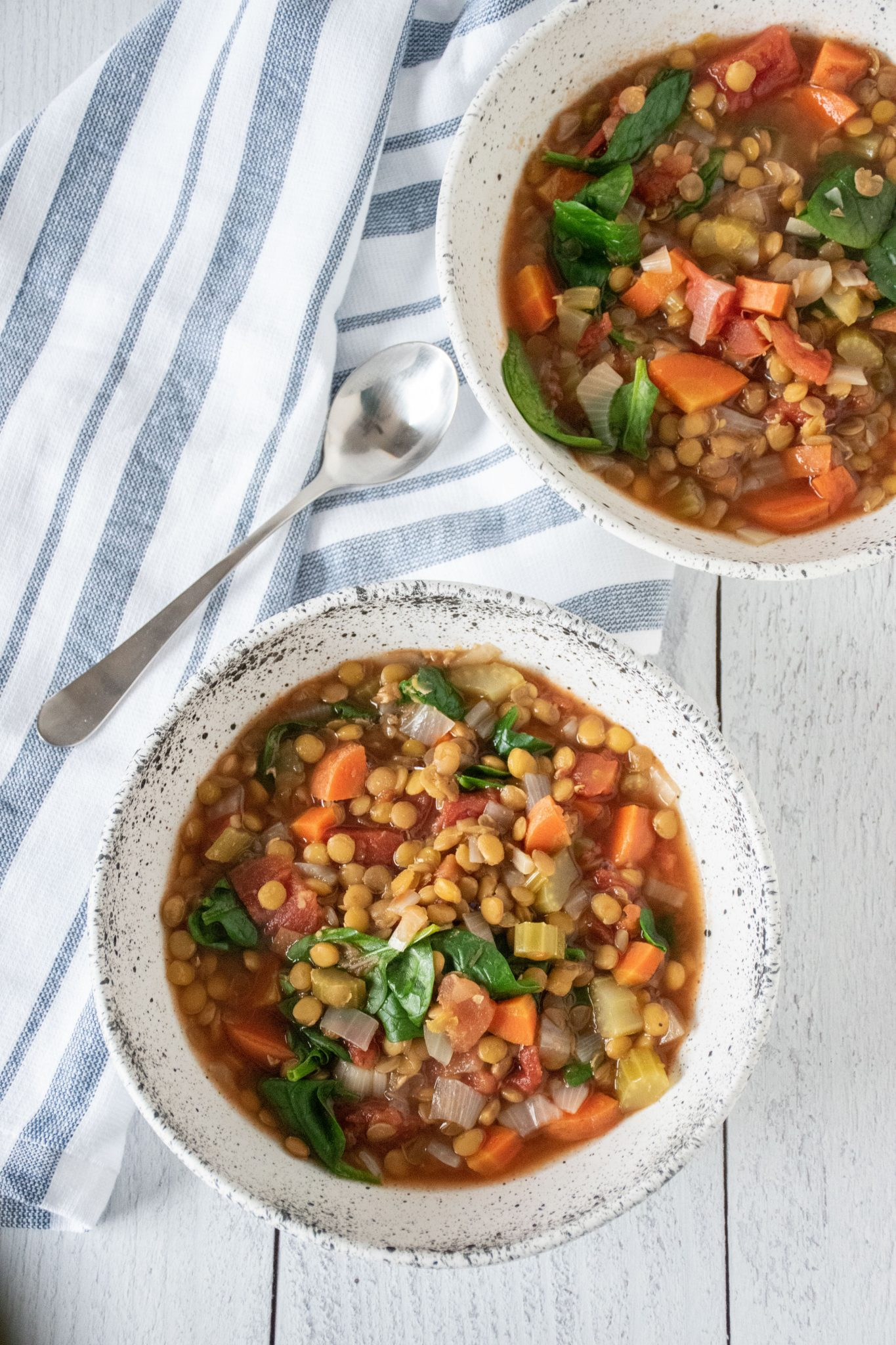 Overhead picture of lentil soup in bowls.