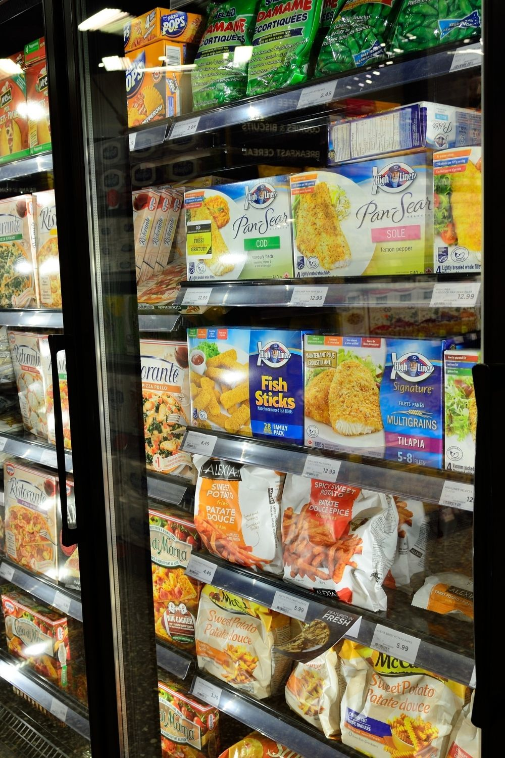 Frozen food aisle at a grocery store