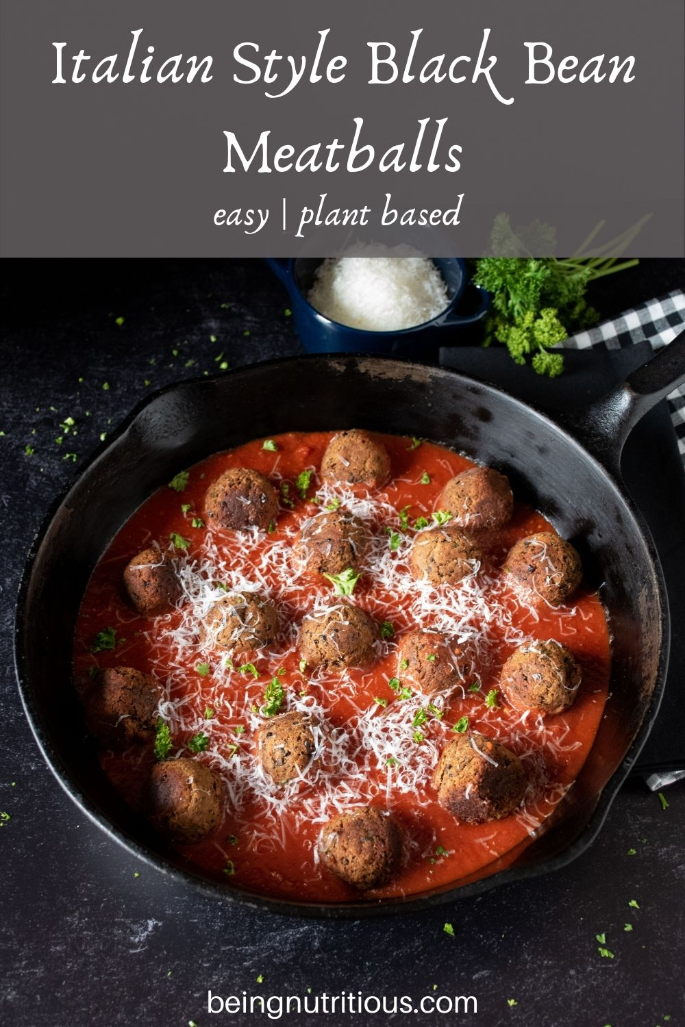 Skillet with meatballs made of black beans with marinara sauce. Text overlay: Italian Style Black Bean Meatballs; easy, plant based.