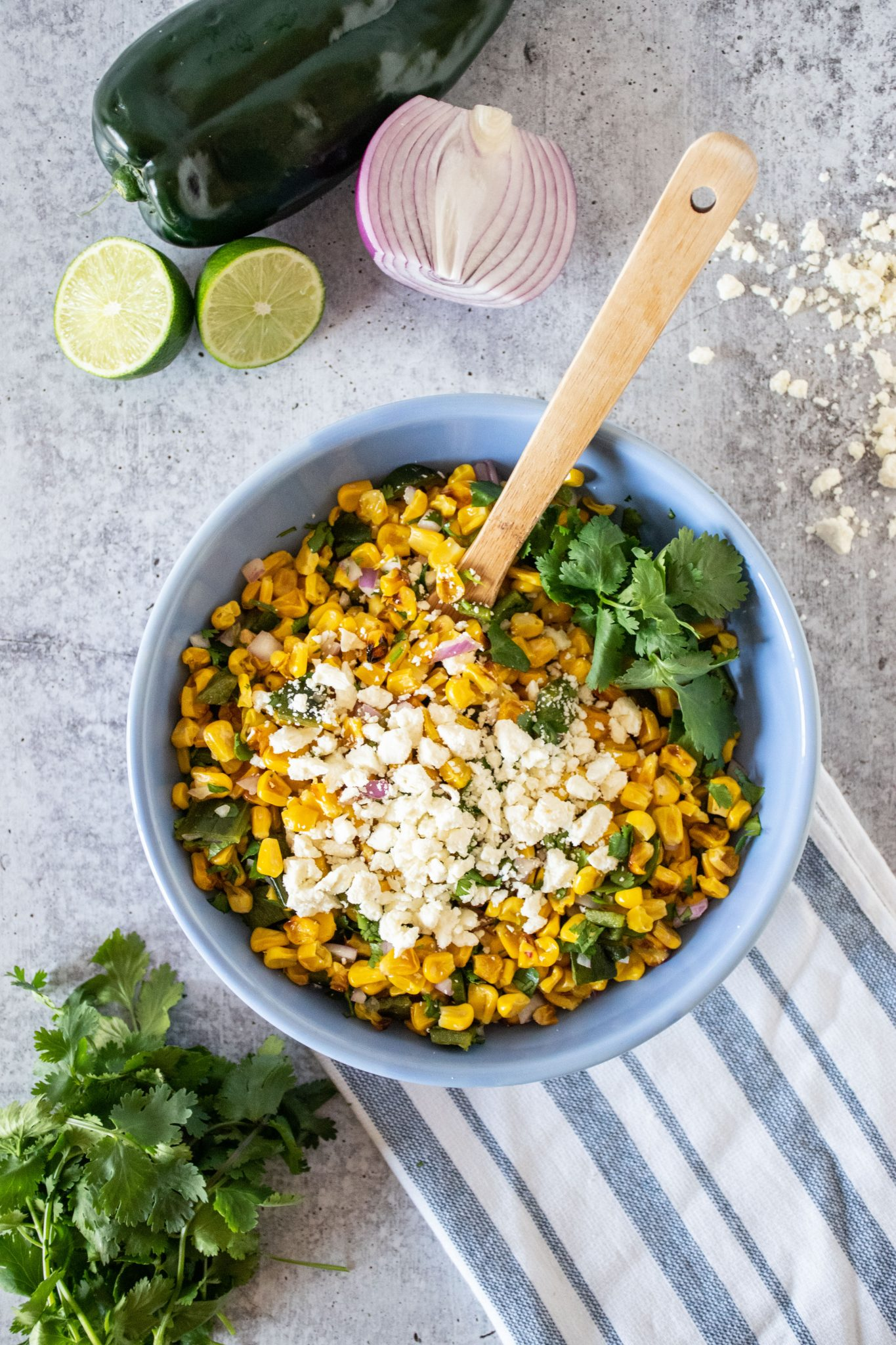 Overhead of corn salad in a bowl.