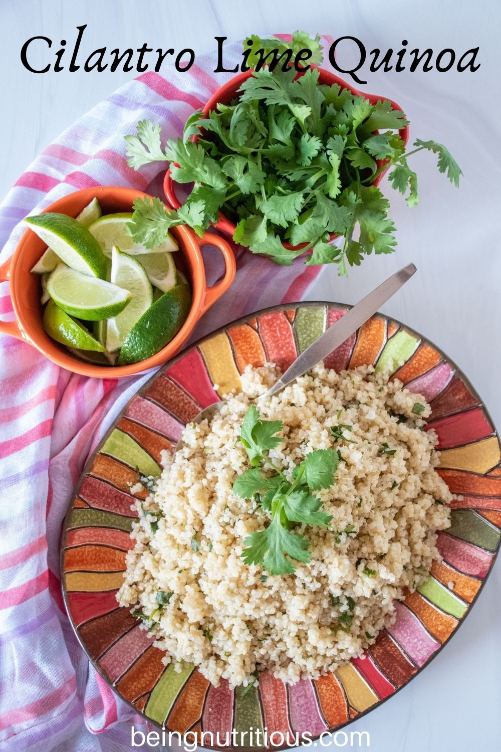 Overhead picture of quinoa on a plate, with small bowls of limes slices and fresh cilantro above. Text overlay: Cilantro Lime Quinoa