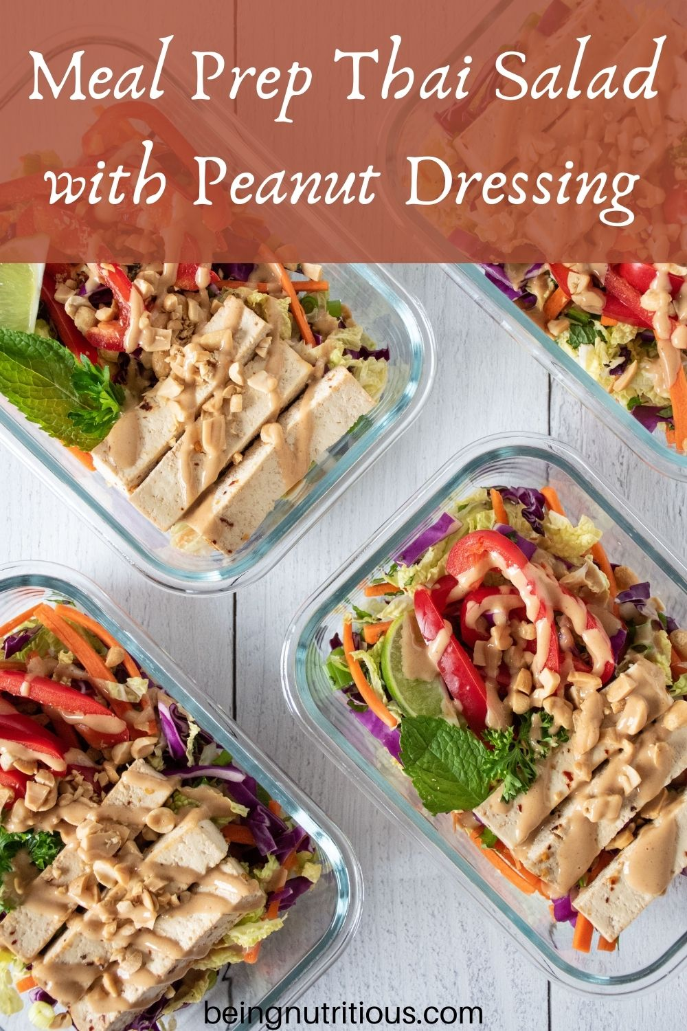 Overhead picture of Thai salad in meal prep containers. Text overlay: Meal Prep Thai Salad with Peanut Dressing.