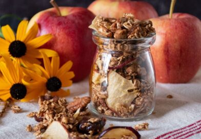 Small jar with granola in it.