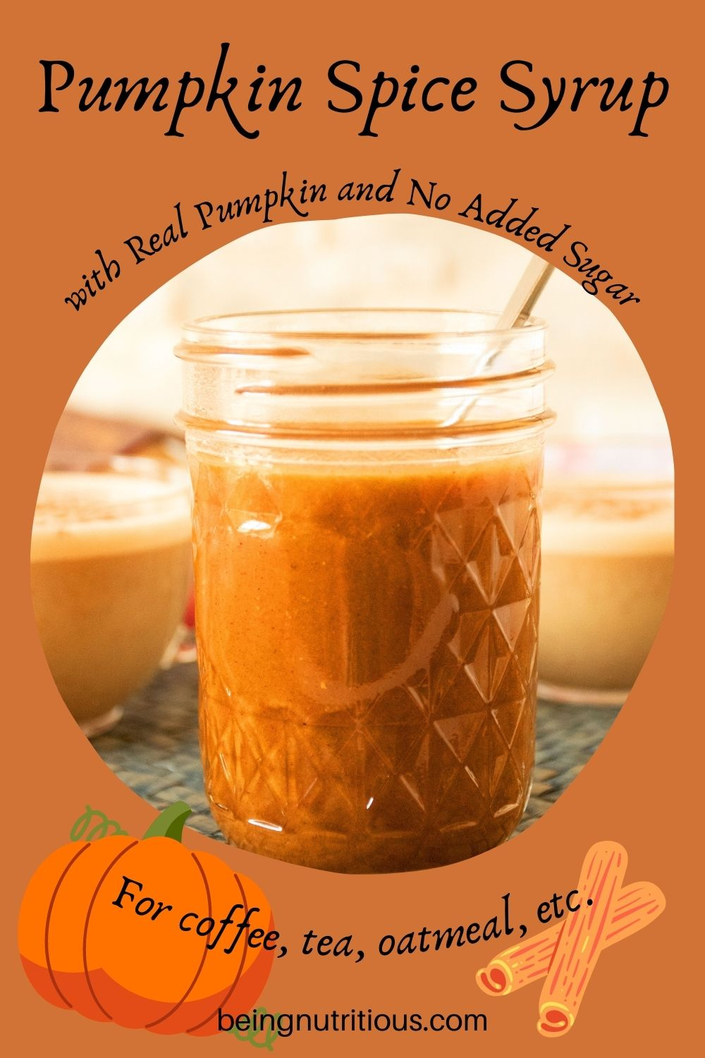 Jar of pumpkin spice syrup. Text around picture: Pumpkin Spice Syrup with real pumpkin and no added sugar. For coffee, tea, oatmeal, etc.