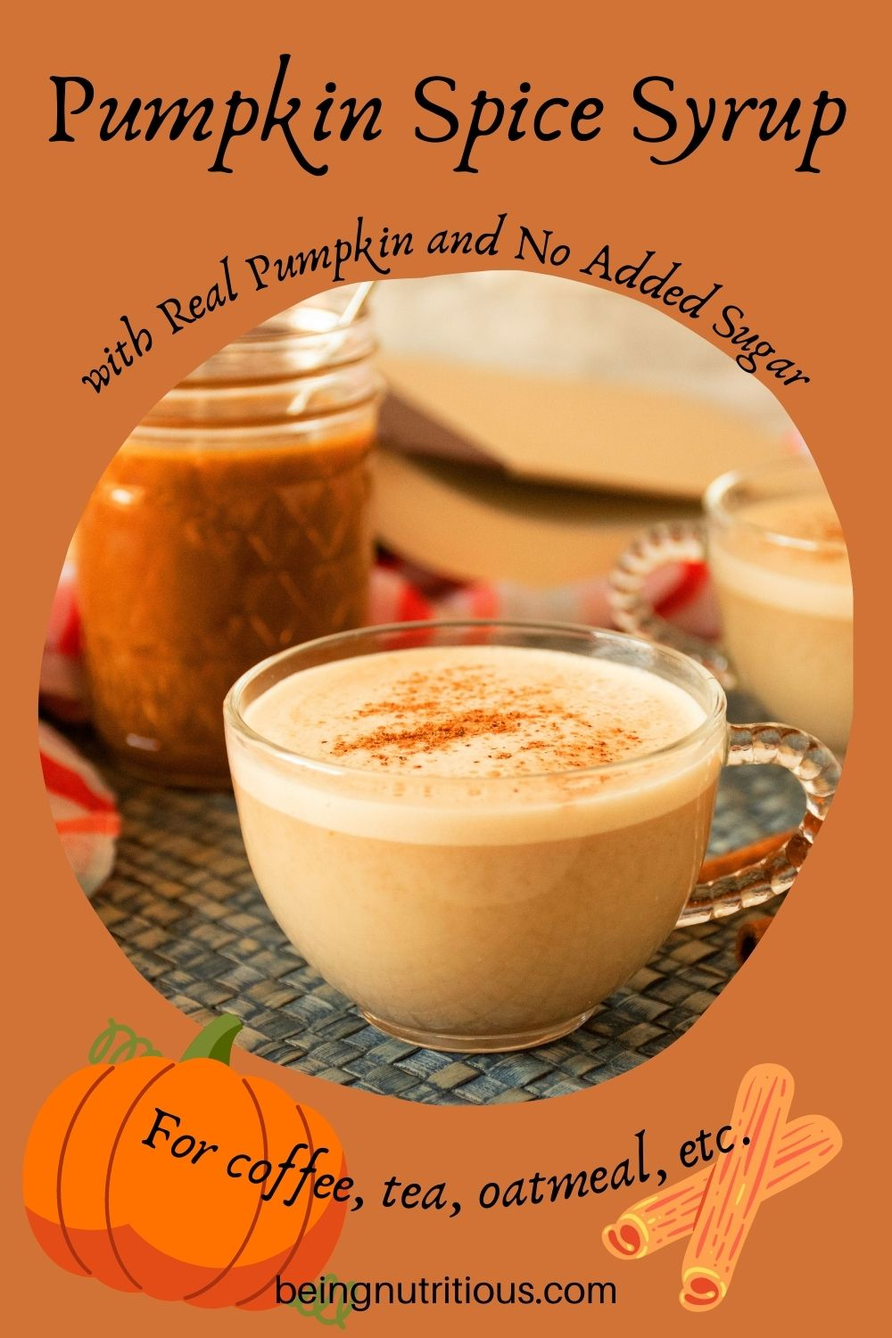 Small cup of a latte with a jar of pumpkin spice syrup in the background. Text around picture: Pumpkin Spice Syrup with real pumpkin and no added sugar. For coffee, tea, oatmeal, etc.