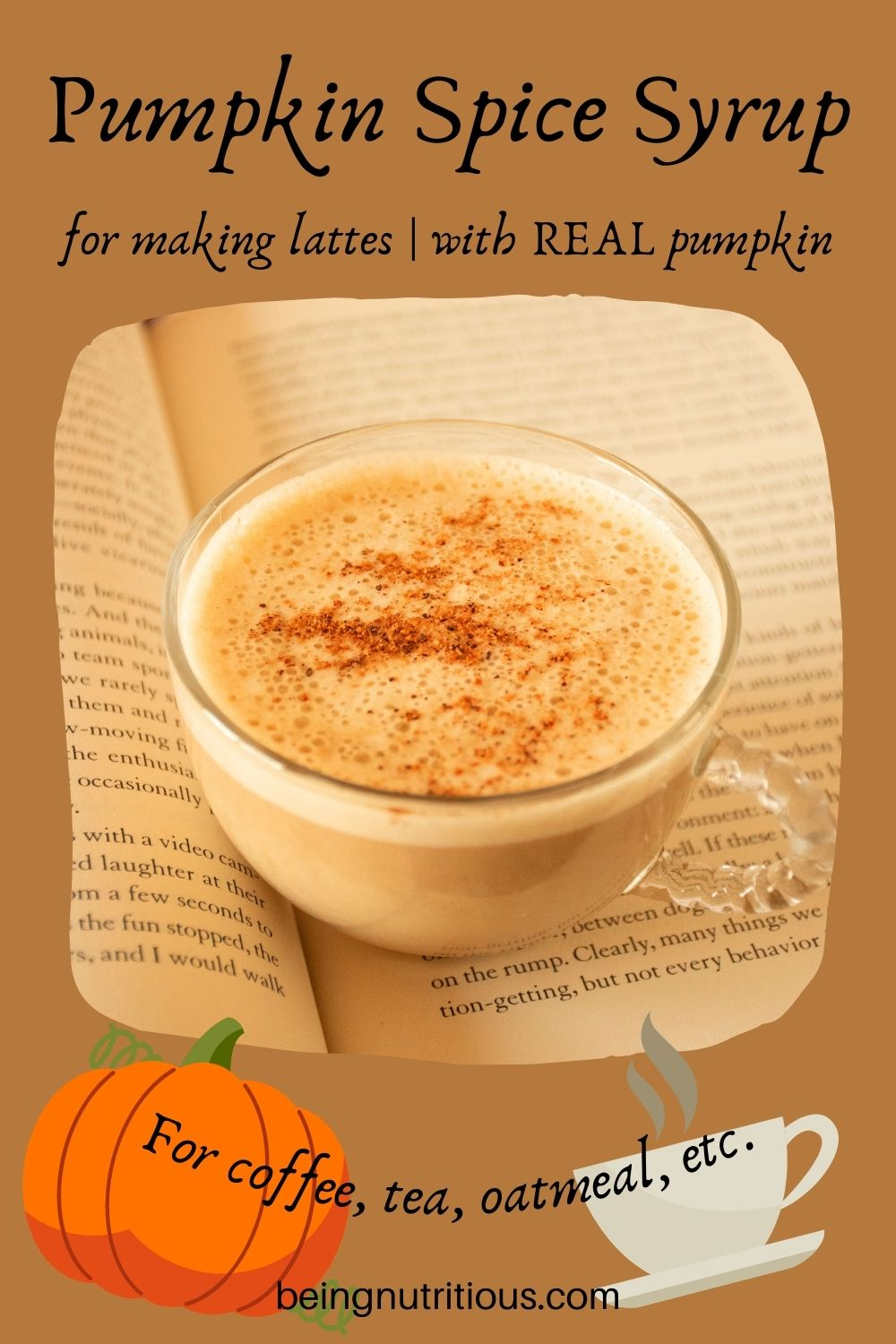 Small cup of a latte sitting on an open book. Text around picture: Pumpkin Spice Syrup for making lattes; with REAL pumpkin. For coffee, tea, oatmeal, etc.