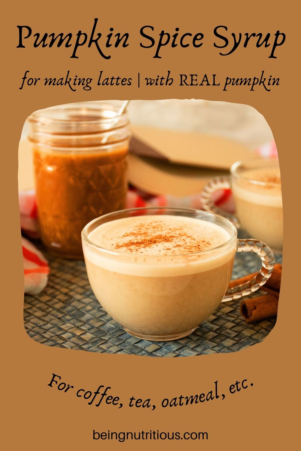 Small cup of a latte with a jar of pumpkin spice syrup in the background. Text around picture: Pumpkin Spice Syrup for making lattes; with REAL pumpkin. For coffee, tea, oatmeal, etc.